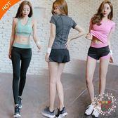 瑜伽服女三件套裝跑步褲健身房速幹運動上衣短褲背心夏季全館免運