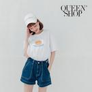 Queen Shop【04130086】大口袋附腰帶牛仔短褲 兩色售 S/M/L*現+預*