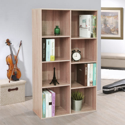 《百嘉美》(H)淺橡木色八格書櫃/收納櫃 斗櫃 置物櫃 電腦桌 電腦椅 立鏡 鞋架 鞋櫃 衣櫃