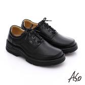 A.S.O 抗震雙核心 真皮彈力綁帶奈米休閒鞋  黑