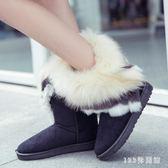 中大尺碼雪靴 短筒圓頭靴子加厚防滑女士絨面雪地靴學生平底靴子女LB2167【123休閒館】
