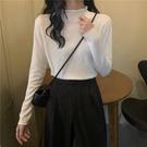 高領毛衣 秋冬2020新款半高領百搭白色緊身上衣服女長袖毛衣內搭針織打底衫-米蘭街頭