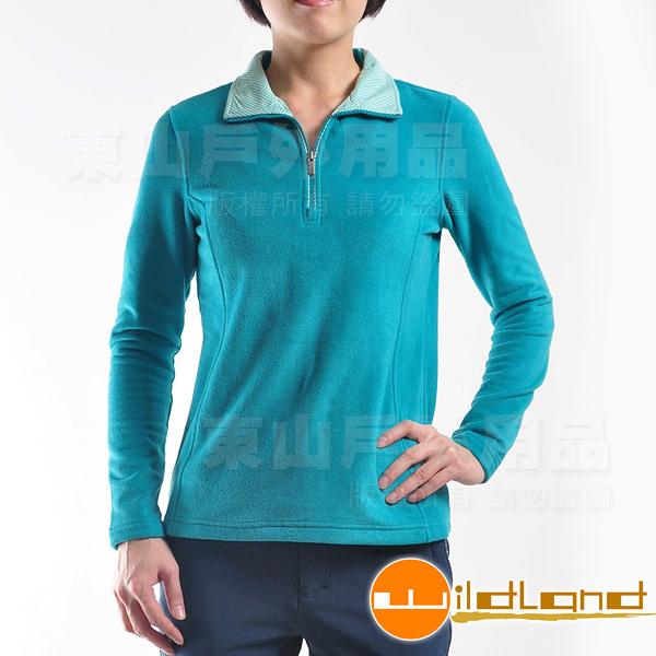Wildland 荒野 0A22501-47藍綠色 女彈性奈米銀PILE保暖上衣