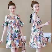 M-4XL胖妹妹洋裝連身裙~棉麻印花連身裙.T135A衣時尚