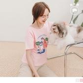 《AB12506》夏日氛圍動物party印圖高含棉短袖T恤/上衣 OrangeBear