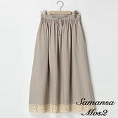 「Hot item」下擺拼接蕾絲鬆緊腰長裙 (提醒-SM2僅單一尺寸) - Sm2