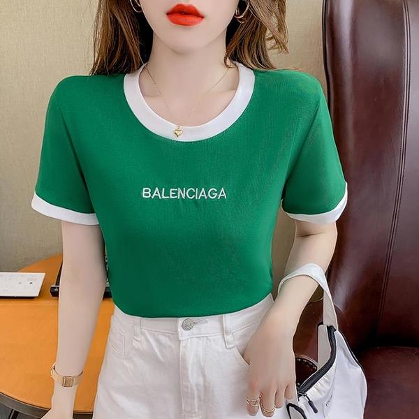 短T~涼感上衣~短袖t恤女撞色修身顯瘦字母印花短款上衣T312F日韓屋