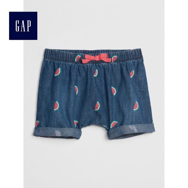 Gap女嬰兒 西瓜印花鬆緊腰牛仔短褲 468236-深色水洗做舊
