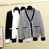 針織開衫外套女拼色口袋披肩春秋外搭小香風洋氣短款寬松護士毛衣 小宅女