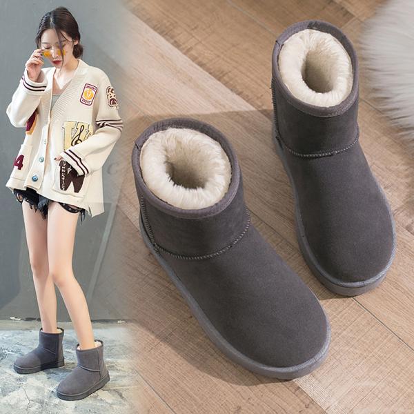 雪地靴女時尚厚底加絨鞋子2020新款冬季雪地棉一腳蹬秋冬百搭棉鞋