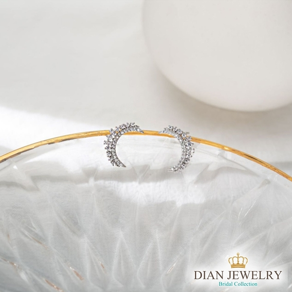 【DIAN 黛恩珠寶】月彎彎 CZ鑽925純銀耳環 (WW5956)