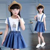 女童牛仔裙夏裝連衣裙中大童兒童韓版背帶裙 LQ5638『miss洛羽』