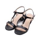 LUZZI 羊皮T字粗跟涼鞋 黑 21052-2 女鞋