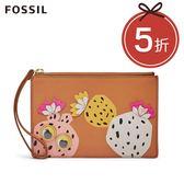 FOSSIL Wristlet 駝色精緻印花皮革RFID手拿包 SL7508231