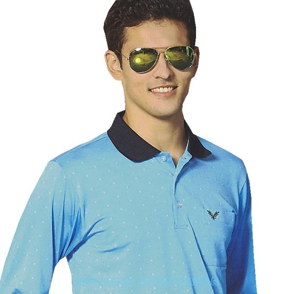 【日本 KAWASAKI】男女吸濕排汗長POLO衫(天藍)#K22100A