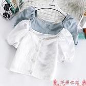 法式上衣法式甜美泡泡袖雪紡衫女夏季2021新款短款設計感鎖骨短袖方領上衣 芊墨 618大促