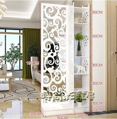 歐式屏風隔斷雕花玄關櫃鏤空簡約現代隔斷櫃客廳白色折屏雙面門廳MBS「時尚彩紅屋」