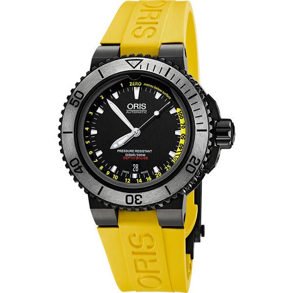 ORIS 豪利時 Aquis Depth Gauge深度測量潛水套錶-IP黑/46mm 0173376754754-SET RS