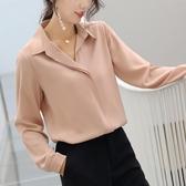 雪紡襯衫女2019春新款 v領長袖寬鬆設計感小眾洋氣職業韓版白襯衣