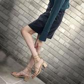 綁帶粗跟涼鞋女中跟2018新款系帶羅馬女鞋夏季百搭仙女露趾高跟鞋 晴光小語
