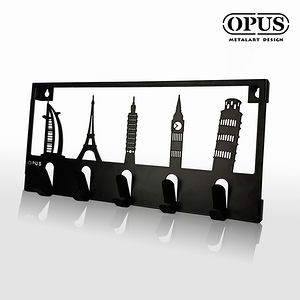 OPUS 歐式鐵藝壁飾掛勾/裝飾掛鉤/掛衣架(經典建築_黑)