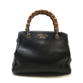 GUCCI 古馳 黑色牛皮竹節提把手提斜背包 Bamboo Top Handle 336032【BRAND OFF】