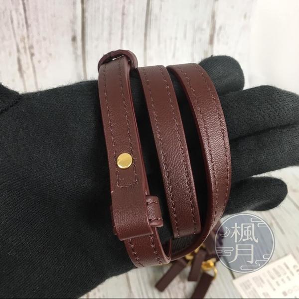 BRAND楓月 CELINE TRIO 經典 燙金 LOGO 酒紅色 小羊皮 三夾層 斜背包 肩背包