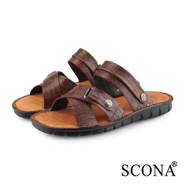 SCONA 蘇格南 全真皮 精縫手工兩穿式厚底涼鞋 咖啡紋 1749-2