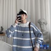 毛衣男士韓版潮流寬松慵懶風條紋半高領針織衫【英賽德3C數碼館】