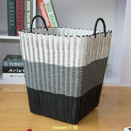 洗衣籃臟衣籃玩具衣物放臟衣服的收納筐框藍塑膠藤編桶編織籃衣簍 快速出貨