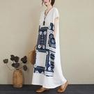 洋裝 中大尺碼 胖妹妹夏裝2021新款寬鬆亞麻印花大碼女裝遮肚顯瘦V領長款連身裙
