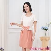 【RED HOUSE 蕾赫斯】雙色蝴蝶結洋裝