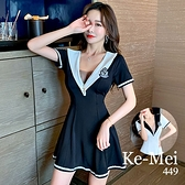 克妹Ke-Mei【ZT67521】Model嫩模海軍風徽章深V透紗連身洋裝