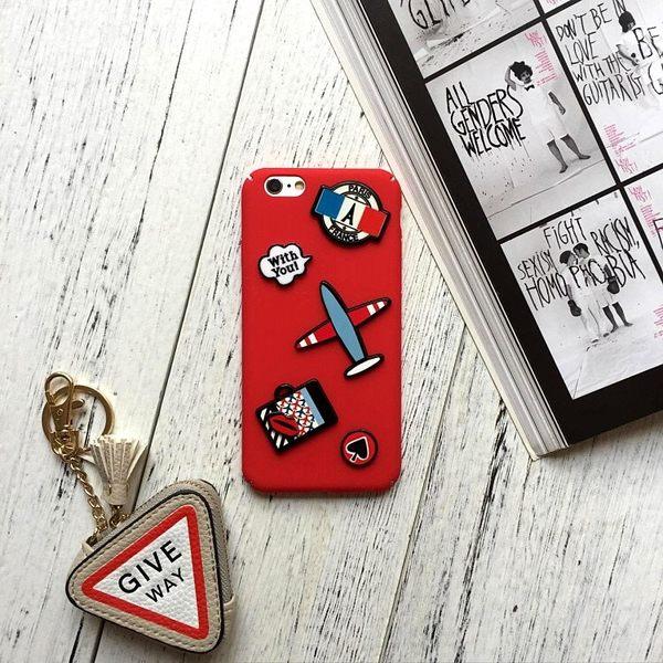 iPhoneX手機殼 韓國代購 鮮紅搶眼飛機徽章 磨砂硬殼 蘋果iPhone8X/iPhone7/i6/5s