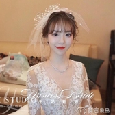新娘頭紗新娘超仙頭飾日韓式網紗蝴蝶結發飾短頭紗飾品婚紗森女繫旅拍 麥吉良品
