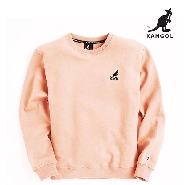 KANGOL 袋鼠 - 左胸刺繡小袋鼠大學T 藕粉【60551034】
