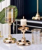 (快出) 歐式燭臺擺件北歐家用創意輕奢浪漫復古美式西餐桌香薰玻璃蠟燭臺