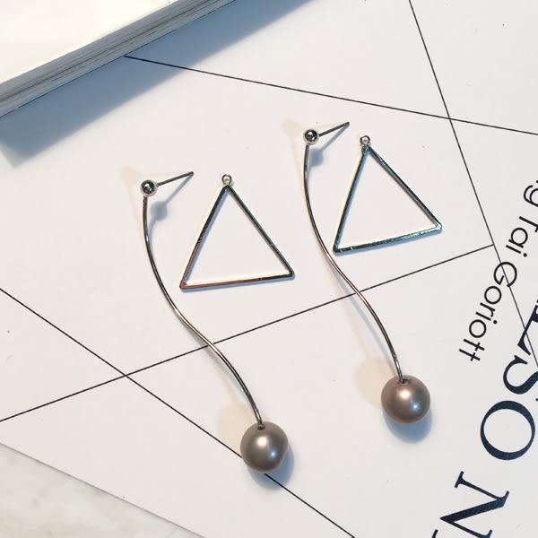 耳環 復古風潮鏤空三角幾何形長線條珍珠垂墜式耳環【1DDE0433】
