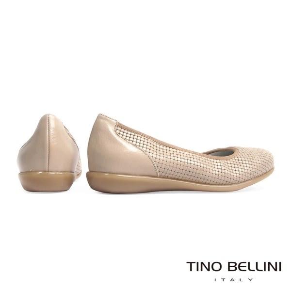 Tino Bellini 西班牙進口素雅格紋全真皮舒足包鞋(淺駝)_A63027  2016SS 歐洲進口款