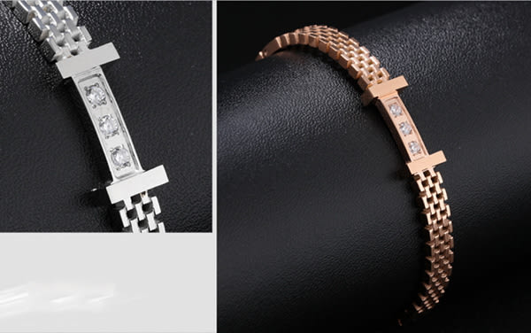 《 QBOX 》FASHION 飾品【B135N862】精緻秀氣鑲鑽獨特網狀316L鈦鋼對鍊/手環(玫瑰金/銀色)