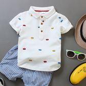 童裝夏裝男童短袖T恤兒童純色白色純棉翻領POLO衫中大童寶寶半袖 易貨居