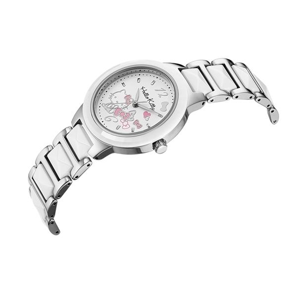 HELLO KITTY 凱蒂貓 甜美陶瓷手錶 LK706LWWW 銀X白/32mm