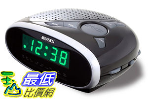 [104美國直購] 鬧鐘收音機 Jensen JCR175 AM/FM Alarm Clock Radio with 0.6-Inch Green LED Display