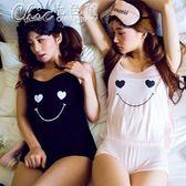 小可愛吊帶睡衣薄款女夏莫代爾花邊笑臉性感韓版家居服套裝女夏天「Chic七色堇」