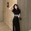 旗袍 夏季新款法式復古性感改良版長款旗袍輕款氣質連身裙少女