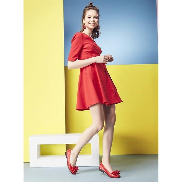 ★2018秋冬★Keeley Ann簡約百搭~立體蝴蝶結緞帶柔軟舒適娃娃鞋(紅色)
