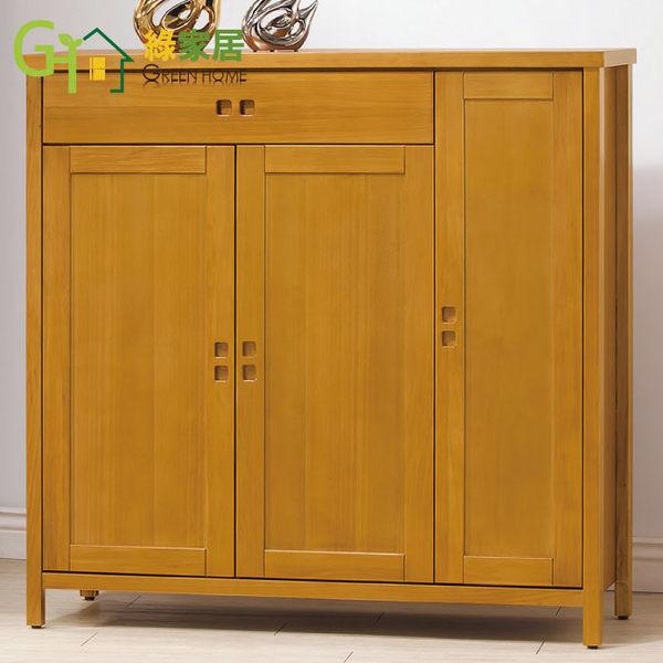 【綠家居】艾勒 柚木紋4尺實木三門鞋櫃/玄關櫃
