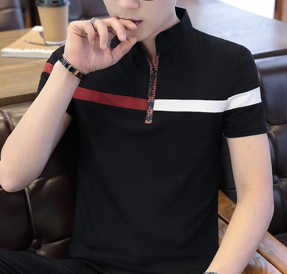 休閒夏季男裝短袖t恤男polo衫