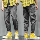 夏季男士牛仔褲韓版束腳潮牌破洞九分褲加肥加大碼潮流薄款小腳  英賽爾3c