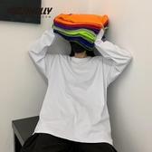 INS純棉20韓國ins復古基礎款純色秋季打底衫內搭男女長袖T恤bf風 雙11提前購